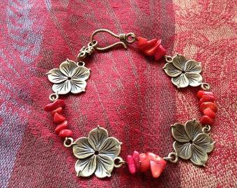 Red, vintage bracelet, natural stones, gems, retro