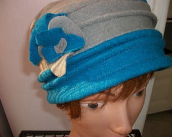 Blue and gray boiled wool hat