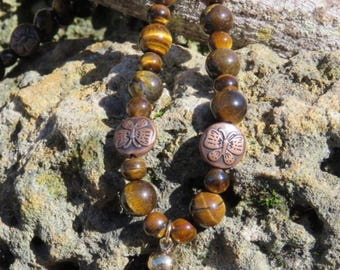 Tigers Eye necklace with bronze butterfly accents