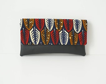 NALA - Faux leather wallet and African fabric