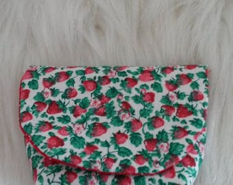 wallet fabric Strawberry lined