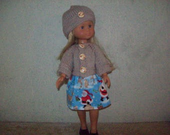 clothes for dolls 32 33 cm, with (cotton skirt printed) girls vest or sweater, hat