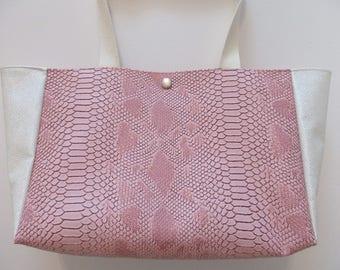 sides white and pink python handbag