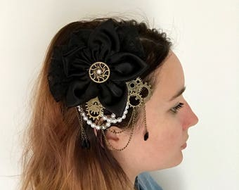 Fabric flower hairclip, lace and pearls