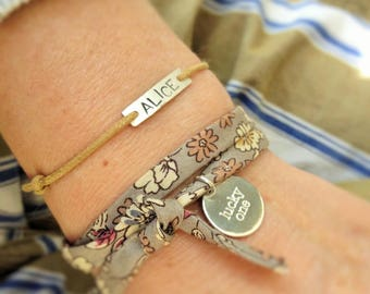"""Bracelet """"Alice"""" personalized engraved silver plated and cotton cord"""