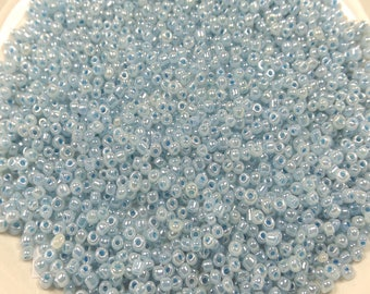 30g glass seed beads, Opaque Beads, Blue pearl beads, approx 2mm, hole approx 0.6mm