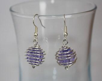 Earrings purple Pearl spiral