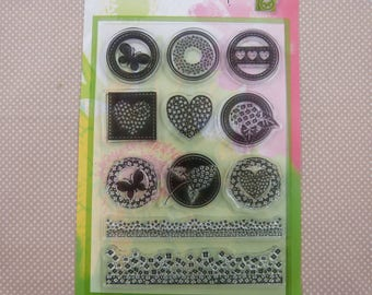 Set of stamps to mount transparent heart patterns