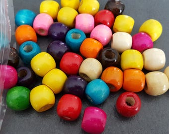 assortment of 50 wood beads 11x12mm, barrel beads, wooden beads, African beads