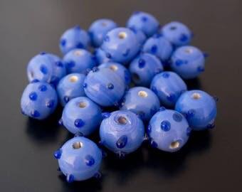 set of 4 glass beads round 10 mm blue hedgehog
