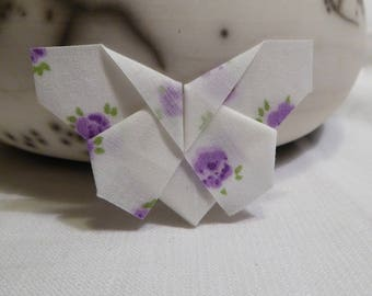 Purple flowers coated and folded so fresh and delicate origami fabric Butterfly brooch