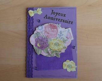Purple 3D card, handmade.