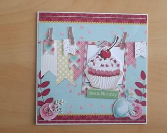 White 3D card, handmade.