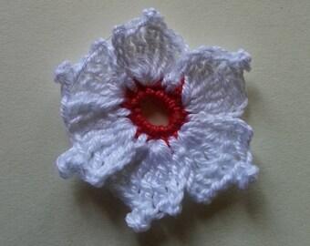 Red white flower cronus kousa crochet applique for sale individually