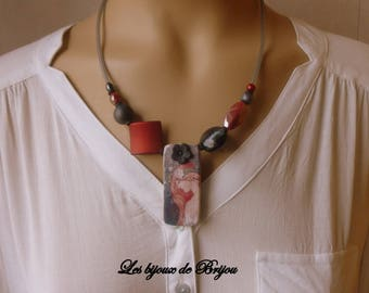 Necklace boho chic style Asian modernist with wood, glass bead pendant, resin