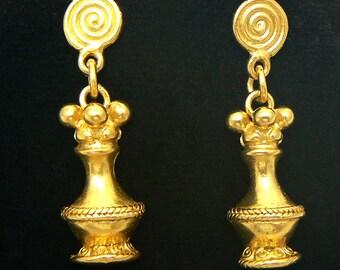 24K GP Precolumbian earrings poporo AD050