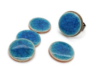 2 cabochons ceramic crackled blue dark turquoise 20mm stick (cab168)