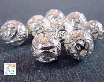 5 round beads silver metal filigree 10mm (pm104)