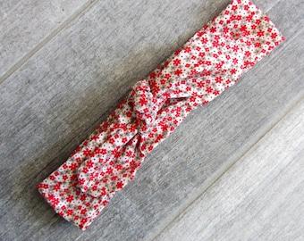 "Headband tie ""red flower"""