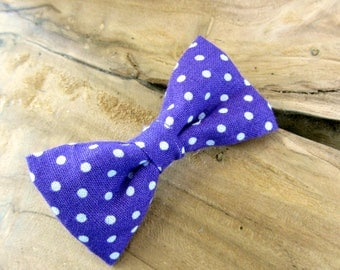 Hair clip purple bow with polka dots