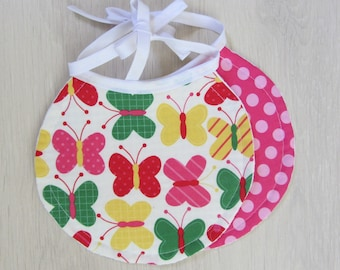 Set of two bibs-assorted butterflies and polka dots