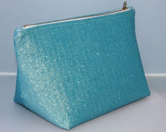 Iced Blue Glitter Make Up Bag