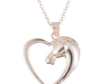 1 horse pendant rose gold