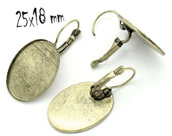 1 pair of earring bronze cabochon 25 x 18 mm stick