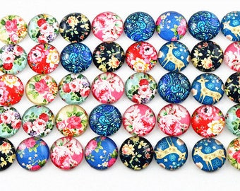 20 cabochons 12 mm glass colorful