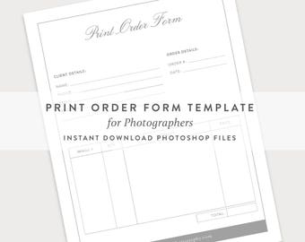 Order Form Template, Photography Order Form, Photography Template, Print Order  Form, Photography