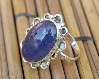 NaturalTanzanite Ring Indian handmade Ring 925 Sterling Silver Ring LHR008