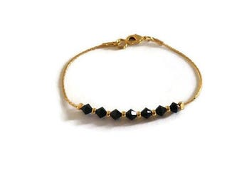 Swarovski crystal bracelet black and gold chain