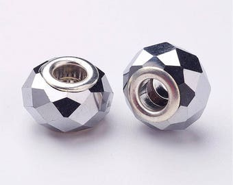 2 European faceted glass beads color silver