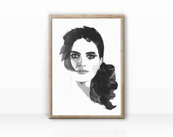 "Woman illustration ""Fashion Face"" Print"