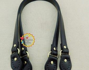 1 pair strap handle length 53 cm black faux leather bag handle