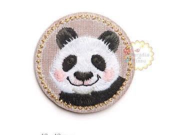 1 x fusible badge kawaii panda embroidered Decoration applied to iron
