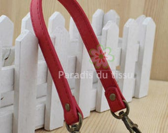 1 x handle for bag red leather faux D30
