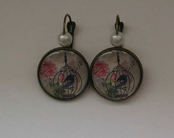 Earrings 20mm cabochon jewel * caged bird *.