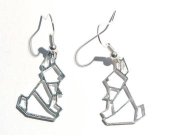 Earrings Metal imitation origami rabbit