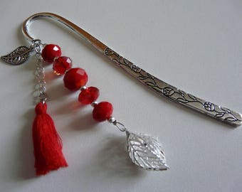 Bookmark red beads - TASSEL and leaf in 3 DIMENSION