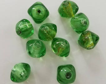 Clear Green Silver Foil Bi-cone Lampwork Beads -12mm - 4 ct