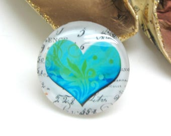 1 cabochon 25 mm glass heart Vintage blue and green - 25 mm