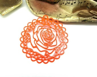 1 pendant EstampeRosace filigreed flower stylized neon bright Orange - 43 mm