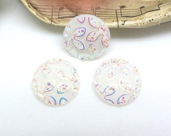 4 cabochons 14 mm round resin flower glitter white AB - 14 mm