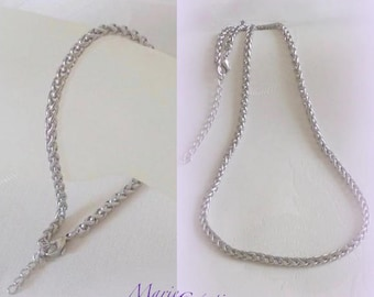 Necklace & Bracelet - braided pattern / / stainless steel