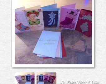 5 mini cards - Christmas - handmade - and envelopes