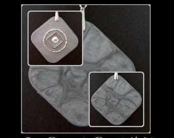 Double-sided square resin pendant silver powder and money issues