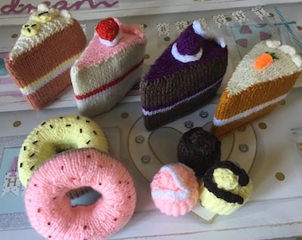 Knitted cakes, cake slices, buns, donuts, hand knitted.