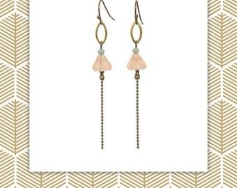 Boucles d'oreille Art Nouveau, romantiques, fines, légères, longues, bohème, bronze, rose, cadeau pour elle