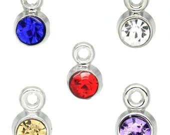 five mixed rhinestone round 8mmx5mm Charms pendants